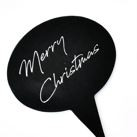 XM001【クリスマスピック・スタンダードシリーズ】Merry Christmas Oval<ブラック>100枚入り