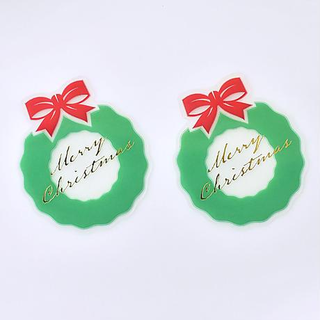 XT007【クリスマスピック・透明クリアシリーズ】Christmas Wreath<グリーン>100枚入り