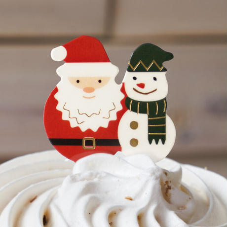 XH016【クリスマスピック・箔押しシリーズ】Santa Snowman<グリーン>100枚入り