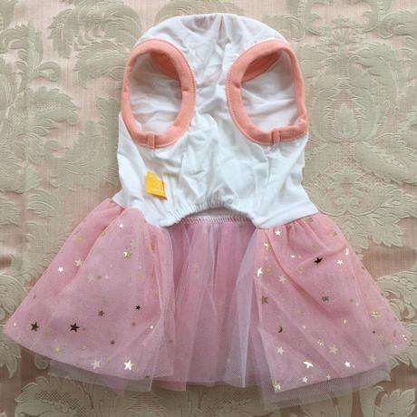 ゴールドフラワーアップリケ ラメドレス ピンク