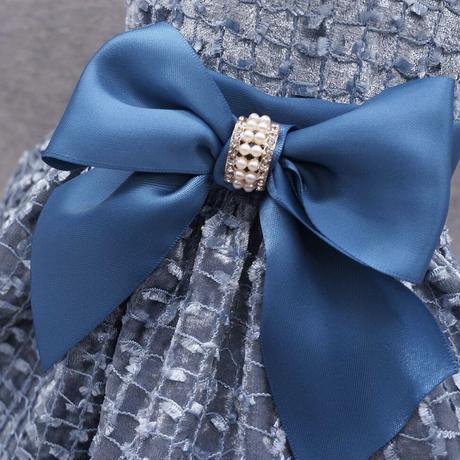 刺繍リボンドレス ブルー