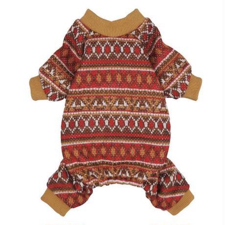 ロンパースパジャマ ニット編み レッドブラウン