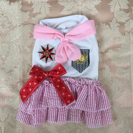 【アウトレット】セーラーワンピース ストライプ ピンク M