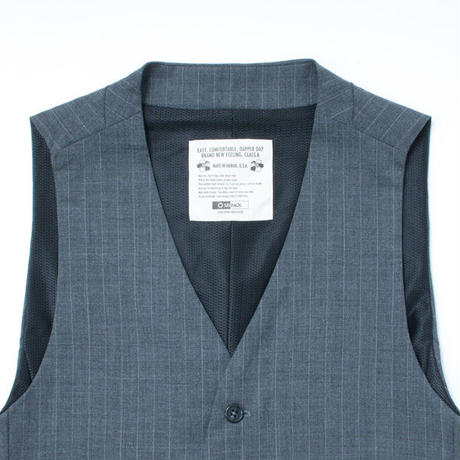 TROPICAL WOOL GILET / GRAY STRIPE
