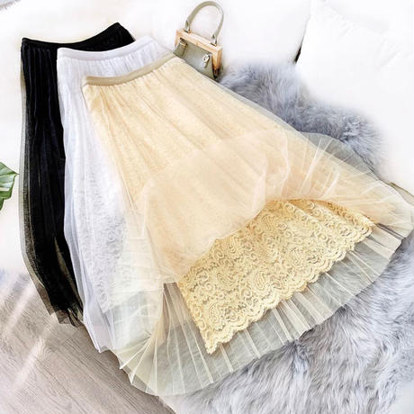 Inner lace tulle skirt 【3color】