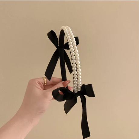 Pearl ribbon hairband
