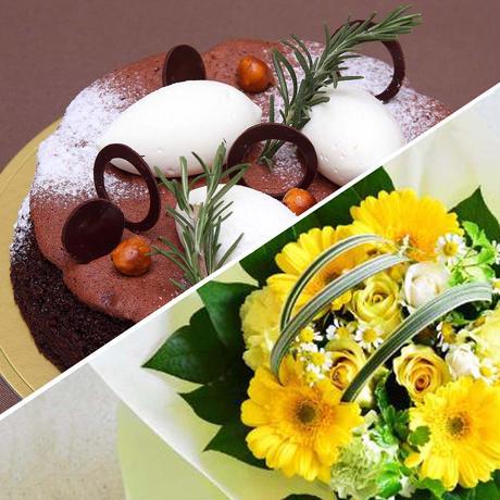 アニバーサリーセット(ショコラリーシュ6号+花束¥3,300相当)※花束画像はイメージ、ホテルからのプチギフト付き
