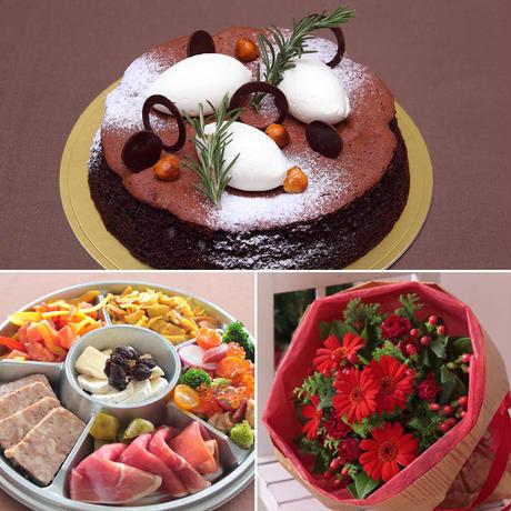 アニバーサリーパーティーセット(ショコラリーシュ6号+オードブル盛り合わせ+花束¥5,500相当)※花束画像はイメージ、ホテルからのプチギフト付き