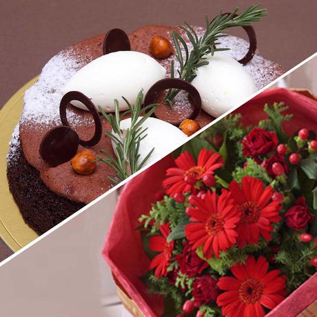 アニバーサリーセット(ショコラリーシュ6号+花束¥5,500相当)※花束画像はイメージ、ホテルからのプチギフト付き