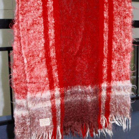 mohair shawl red brown 50s