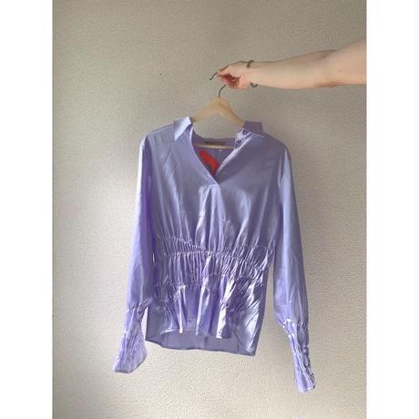 saten blouse purple bomber