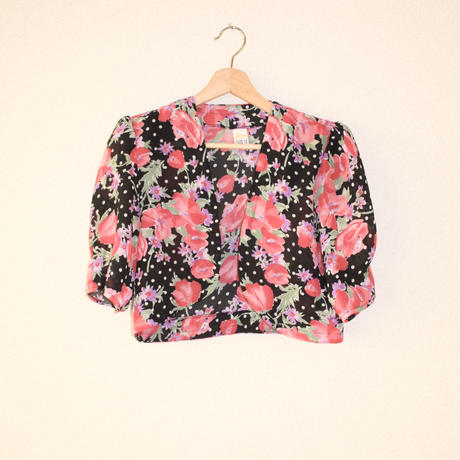 etam 2 piece black and pink flower/white dots w bolero