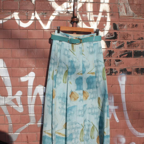 jacques vert light blue abstract pattern skirt w belt