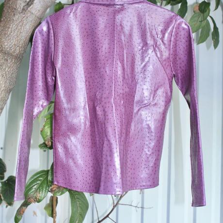 purple pvc fake leather jacket