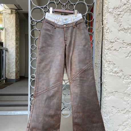remake jeans leather pants