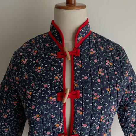 70's USA Cotton Floral Printed Quilting Jacket