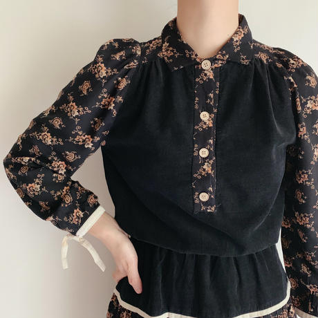 Euro Vintage Flower Print Rayon and Corduroy Dress