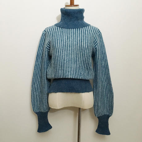 Euro Vintage  Striped Turtleneck Knit  Sweater