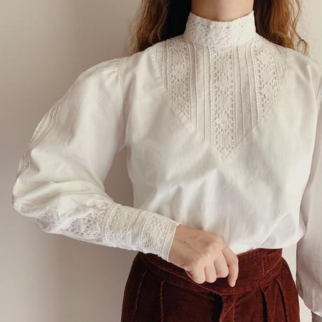 UK Vintage Stand Collar Cotton Lace Blouse
