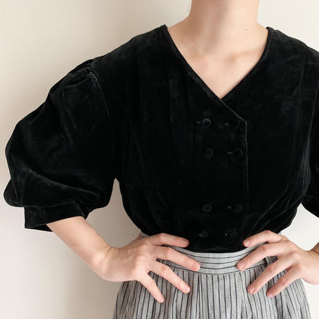 Euro Vintage Velours Double Breasted Blouse