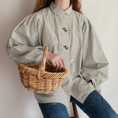 Euro Vintage Striped Volume Sleeve Folk Blouse