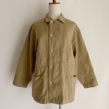 Euro Vintage Cotton Linen Draw Cord Jacket