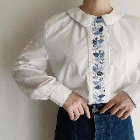 French Vintage Cotton Flower Embroidery Blouse