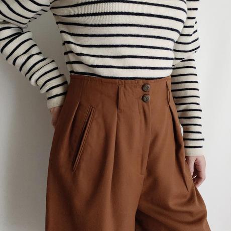 80's Euro Vintage Terracotta Brown Tucked half Pants