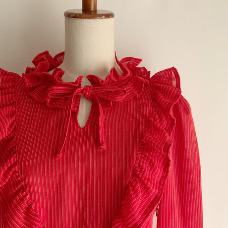 70's - 80's Euro Vintage Pin stpiped Frill Design Dress