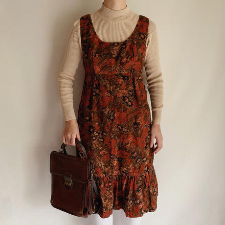 UK Vintage Flower Print Corduroy Mini Dress