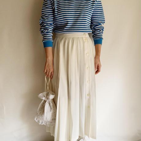 80's - 90's Euro Vintage Sheer Pleated Long Skirt