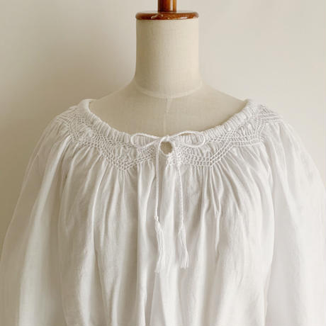 White Cotton Gaze Tunic With Ribbon