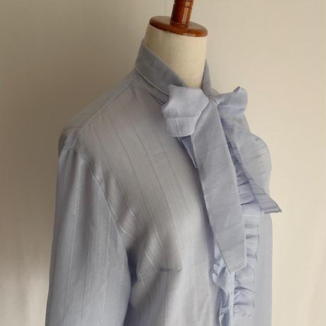 70's Euro Vintage Pale Blue Blouse With Ribbon