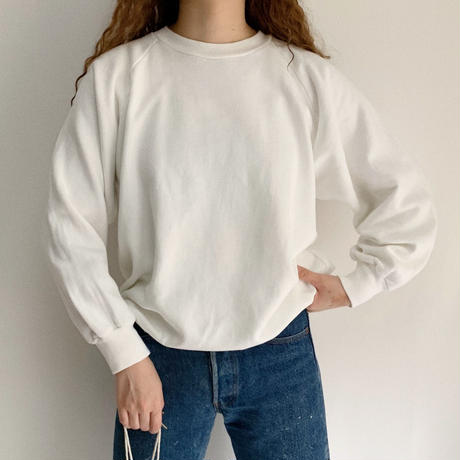 80's White Raglan Sleeve Sweat Shirt