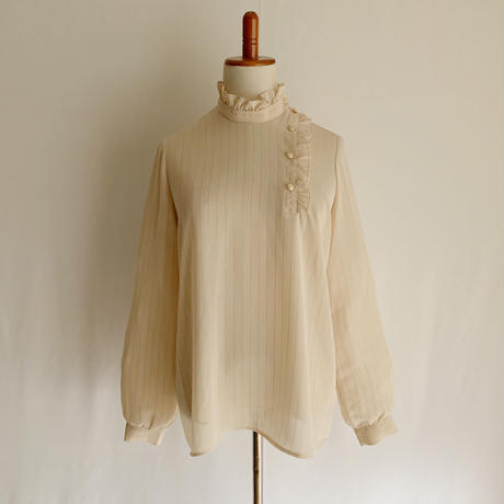 70's Euro Vintage Stand Collar Pullover Blouse