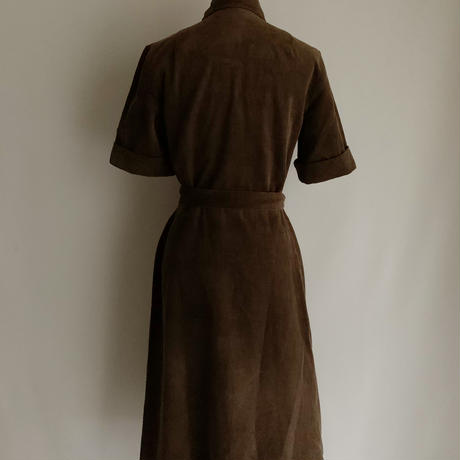 Euro Vintage Corduroy Dress With Ribbon