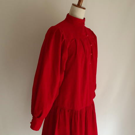 80's USA Corduroy Volume Sleeve Dress
