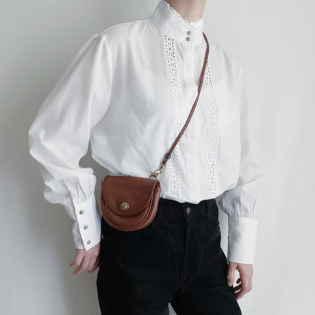 Euro Vintage Stand Collar Long Cuffs Blouse