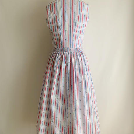 Euro Vintae Stripe Sleeveless Flare Dress