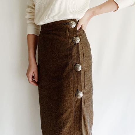 80's USA Tight Long Skirt With Concho Buttons