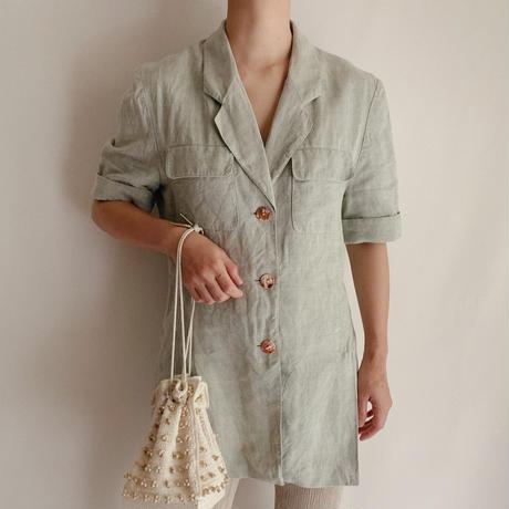 Euro Vintage Linen Short Sleeve Jacket