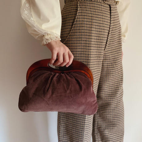 70's Euro Vintage Brown Corduroy Hand Bag