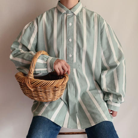 Euro Vintage Striped Folk Blouse