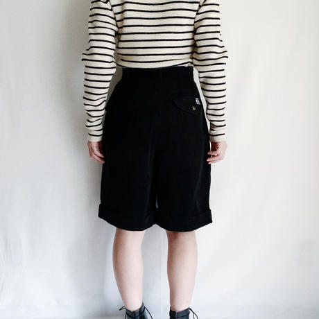 80's French Corduroy Wide Silhouette Half Pants