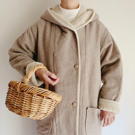 Euro Vintage Beige Hooded Boa Long Coat
