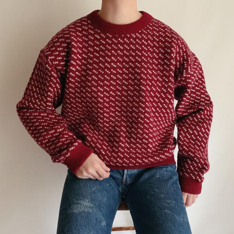 "80 's "" L.L. Bean ""  Bird's Eye Knitting Pattern Sweater"