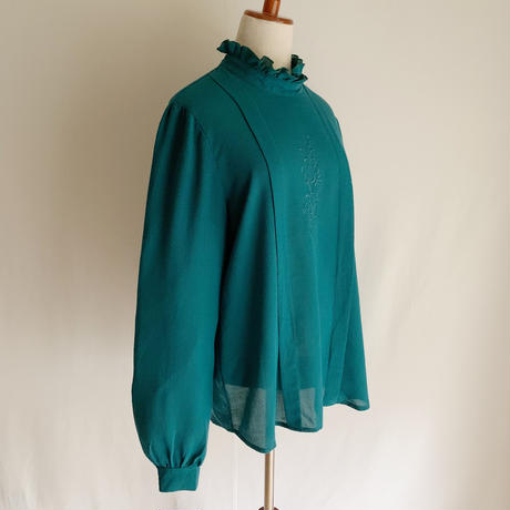 80's Euro Vintage Stand Collar Blouse