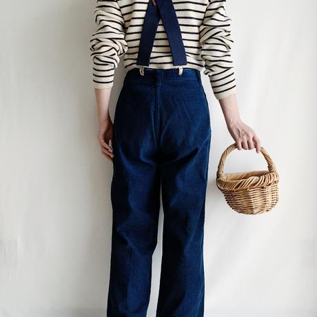 80's  Blue Corduroy Waist Tucked Pants