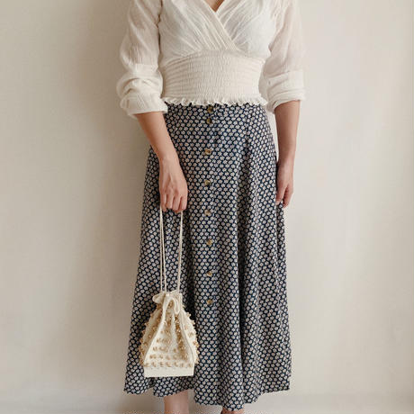 All Over Flower Prints Rayon Flare Skirt
