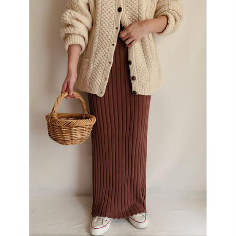 Euro Vintage Brown Cotton Rib Knit Skirt